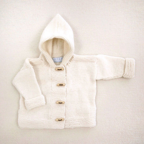 Kotuku Baby Jacket Hooded Merino Natural Cream
