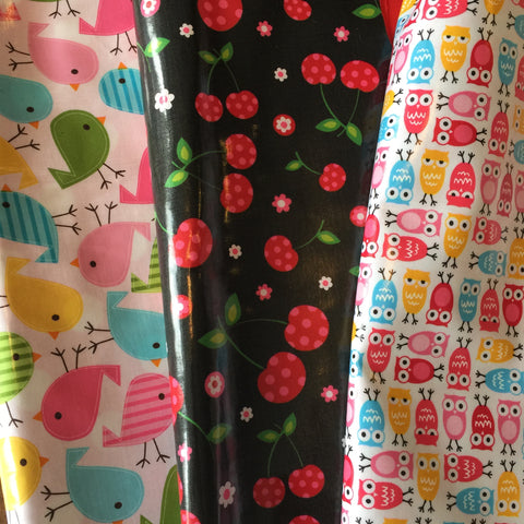 Girls Raincoat Fabrics (Sparrows, Cherries & Owls)