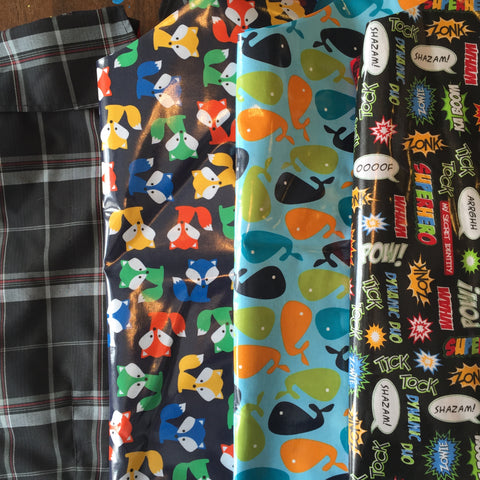 Boys Raincoat Fabrics (Black Plaid, Fox's, Whales & Superhero)