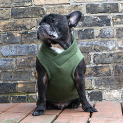 Boys Vest - Olive Green - French Bulldog Pug Fleece Sweater
