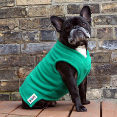 Boys Vest - Emerald Green - French Bulldog Pug Fleece Sweater