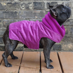 Girls Winter Dog Coat - Fuchsia Corduroy
