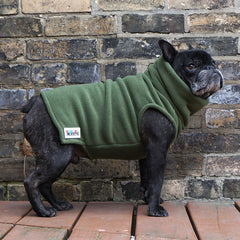 Boys Turtleneck - Olive Green - French Bulldog Pug Fleece Sweater