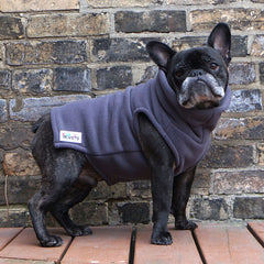 Boys Turtleneck - Grey - French Bulldog Pug Fleece Sweater