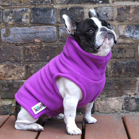 Girls Turtleneck - Bubblegum Pink - French Bulldog Pug Fleece Sweater