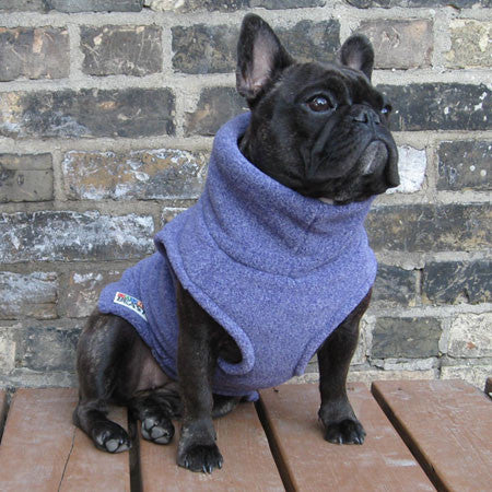 Girls Turtleneck - Purple Heather (Limited Edition) - French Bulldog Pug Fleece Sweater