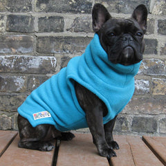 Girls Turtleneck - Mermaid Blue - French Bulldog Pug Fleece Sweater
