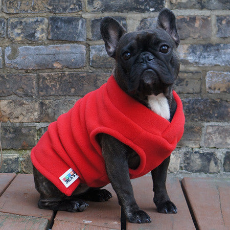 Girls Vest - Red - French Bulldog Pug Fleece Sweater