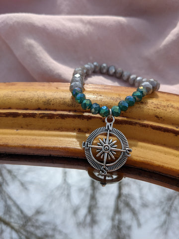 Compass Bracelet Aqua and Grey