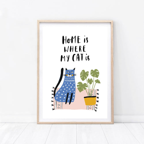 Cat Print - Home Is Where My Cat Is - Wildfig & Co
