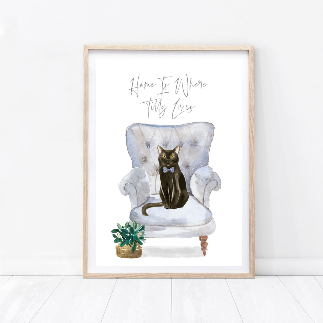 Personalised Cat In Chair Print