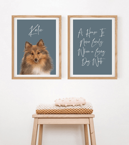 Dog Potrait & Home Quote Print Set - Wildfig & Co