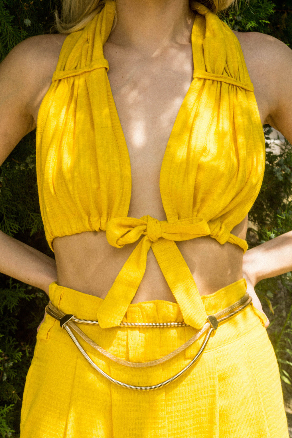 Upcycled vintage yacht club high waist shorts & bra set, in yellow