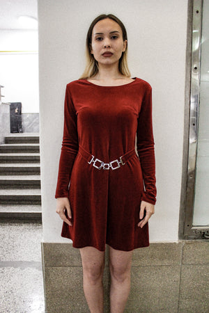Burgundy vintage velour dress with a decorative metal belt