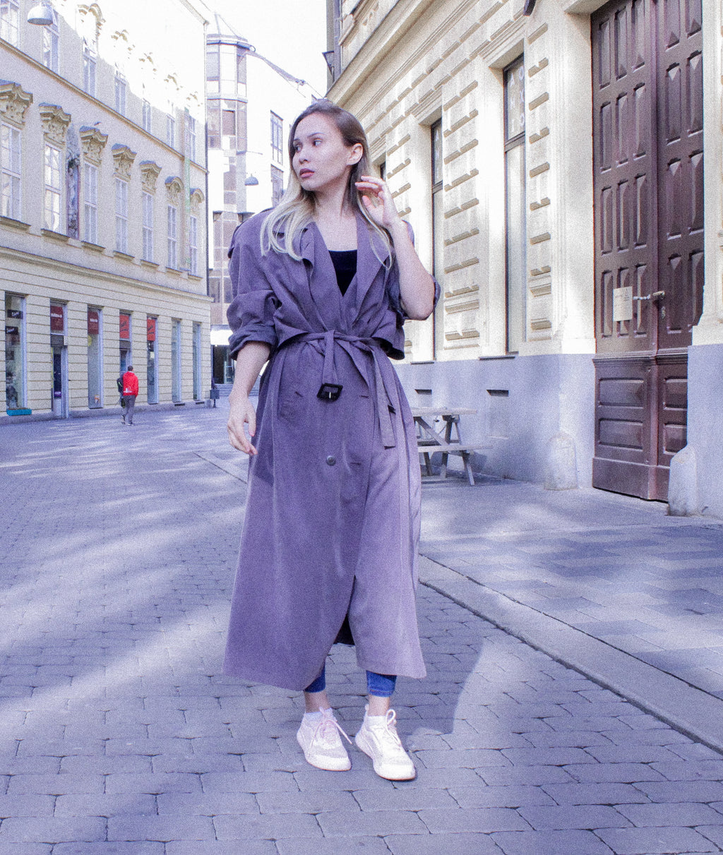 Vintage oversized trench in dusty lilac