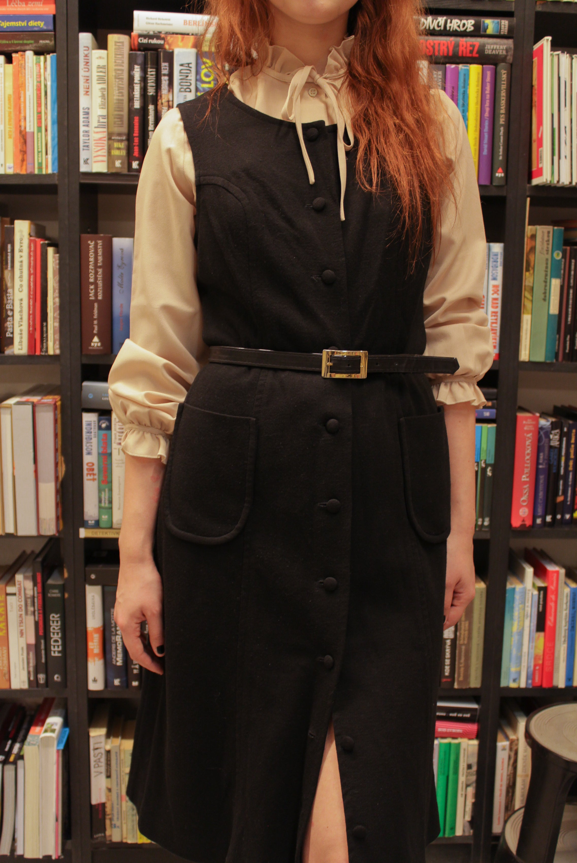 Comfortable vintage 70s heavy jersey button up dress