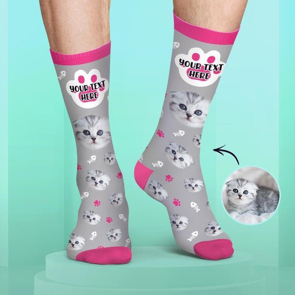 Custom Cat Face and Name Socks Candy Colors