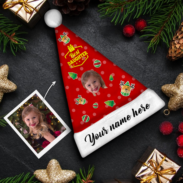 Plush Velvet My Face & Name Personalized Best Daughter Santa Hat - For Man, Woman, Kid