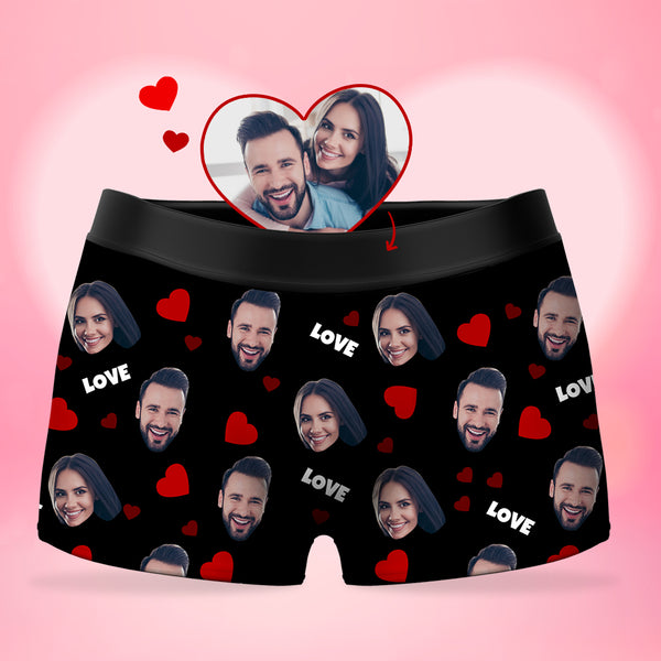Custom Men's Face Boxer Shorts - Love