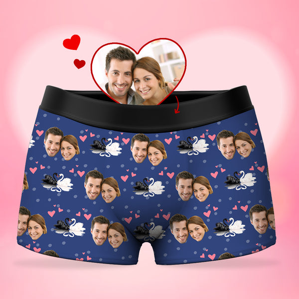 Custom Men's Face Boxer Shorts - Black and White Swan