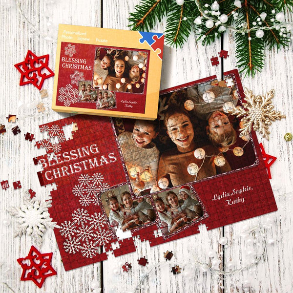 Custom Multiple Photo Jigsaw Puzzle With Box Christmas Gifts