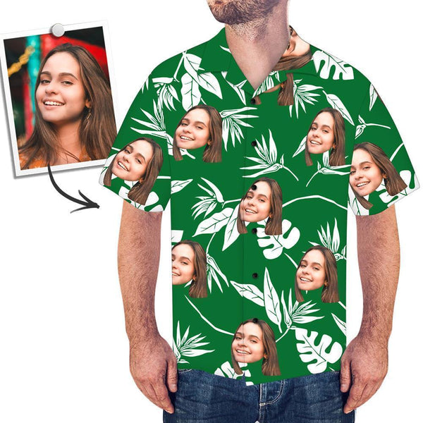 Men's Custom Face Shirt Hawaiian Shirt Short Sleeve Green