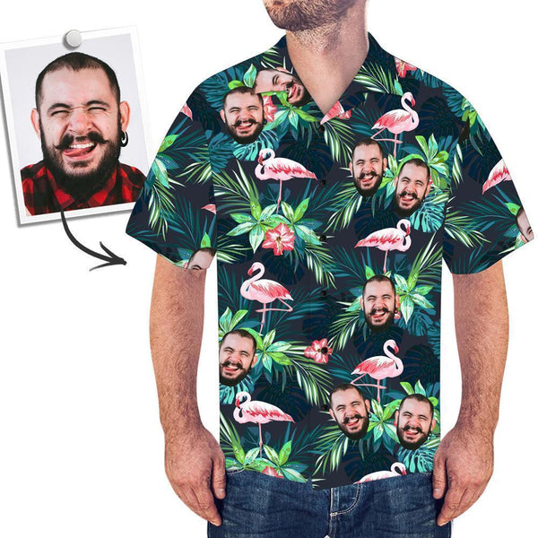 Men's Custom Face Shirt Hawaiian Shirt Short Sleeve Tropical Leaves Flamingo