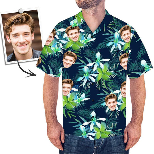 Men's Custom Face Shirt Hawaiian Shirt Short Sleeve Flower