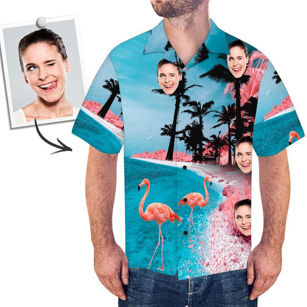 Men's Custom Face Shirt Hawaiian Shirt Short Sleeve Seaside Flamingo