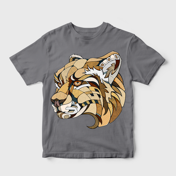 Tiger Motif Print T-shirt Grey