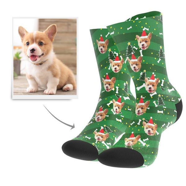 Christmas Gift Custom Face Socks (Dog)