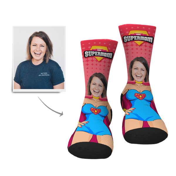 Custom Supermom Face Socks