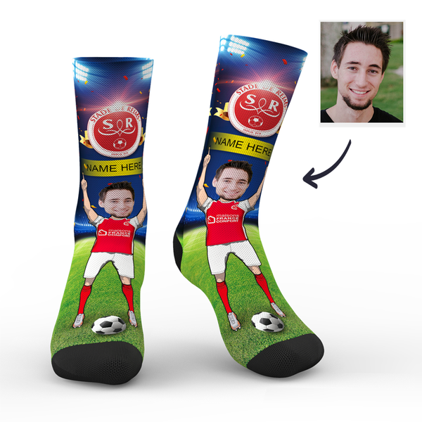 Custom Stade de Reims Super Fans Face Socks | Ligue 1 2019/20 Season