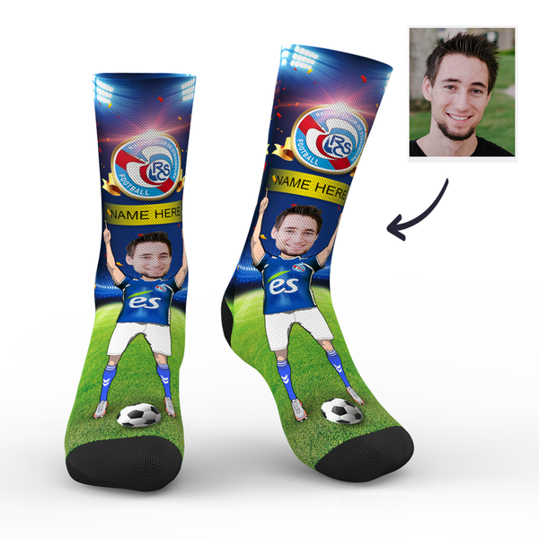 Custom RC Strasbourg Alsace Super Fans Face Socks | Ligue 1 2019/20 Season