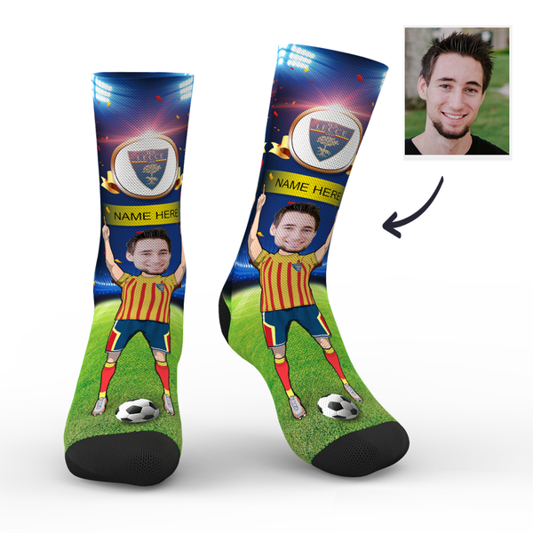 Custom U.S. Lecce Super Fans Face Socks | Serie A 2019/20 Season