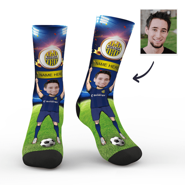 Custom Hellas Verona F.C. Super Fans Face Socks | Serie A 2019/20 Season