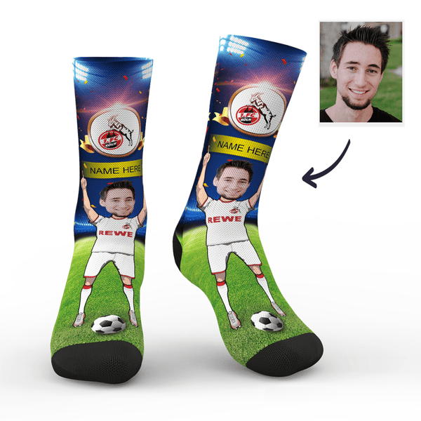Custom 1. FC Köln Super Fans Face Socks | Bundesliga 2019/20 Season