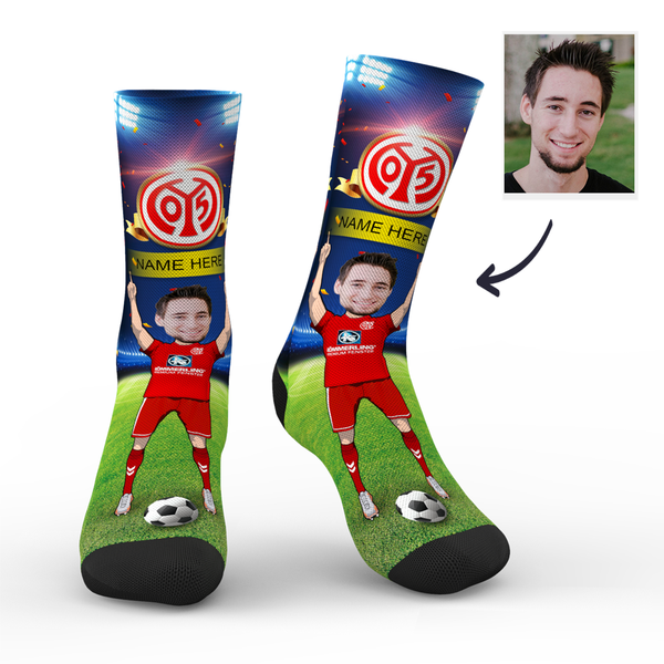 Custom 1. FSV Mainz 05 Super Fans Face Socks | Bundesliga 2019/20 Season