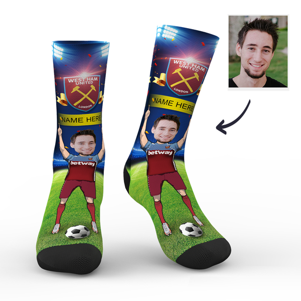 Custom West Ham United Super Fans Face Socks | Premier League 2019/20 Season