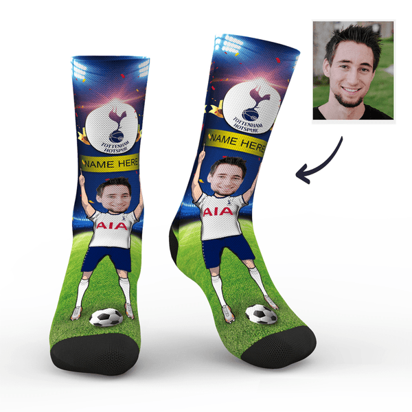 Custom Spurs/Tottenham Hotspur Super Fans Face Socks | Premier League 2019/20 Season