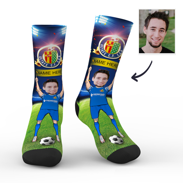Custom Getafe CF Super Fans Face Socks | La Liga 2019/20 Season