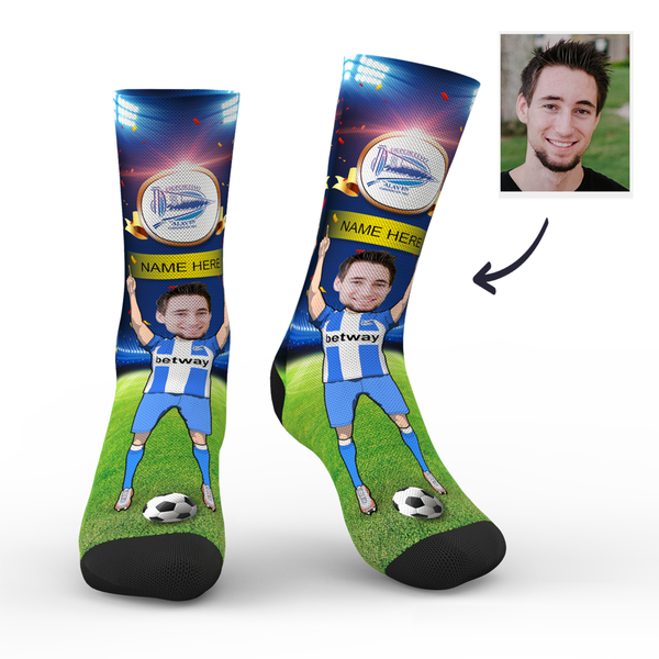 Custom Deportivo Alavés Super Fans Face Socks | La Liga 2019/20 Season