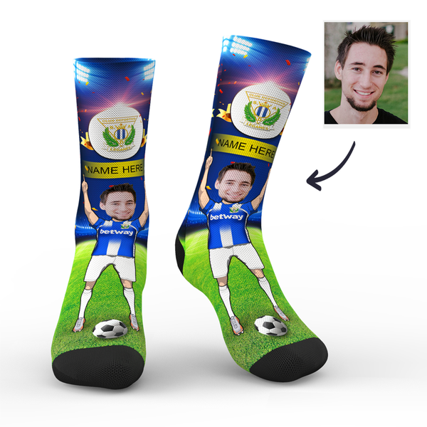 Custom CD Leganés Super Fans Face Socks | La Liga 2019/20 Season