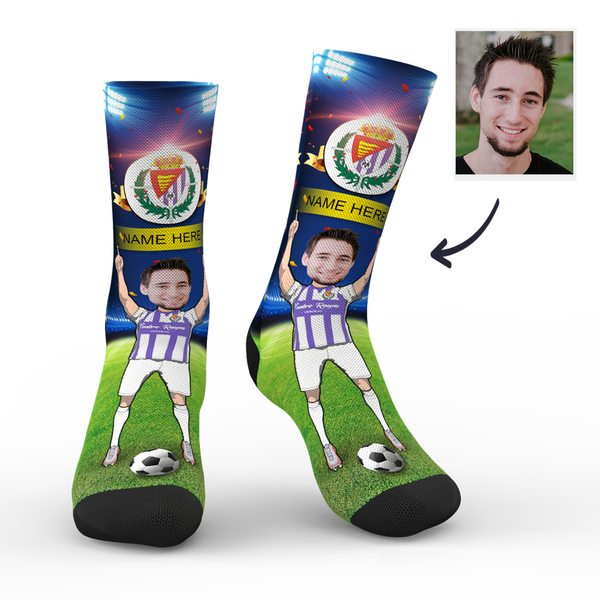 Custom Real Valladolid Super Fans Face Socks | La Liga 2019/20 Season