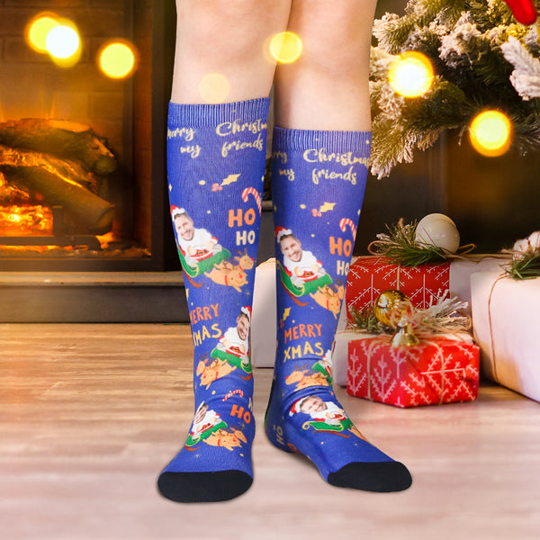 Custom Face And Name Socks On Santa Claus & Elk