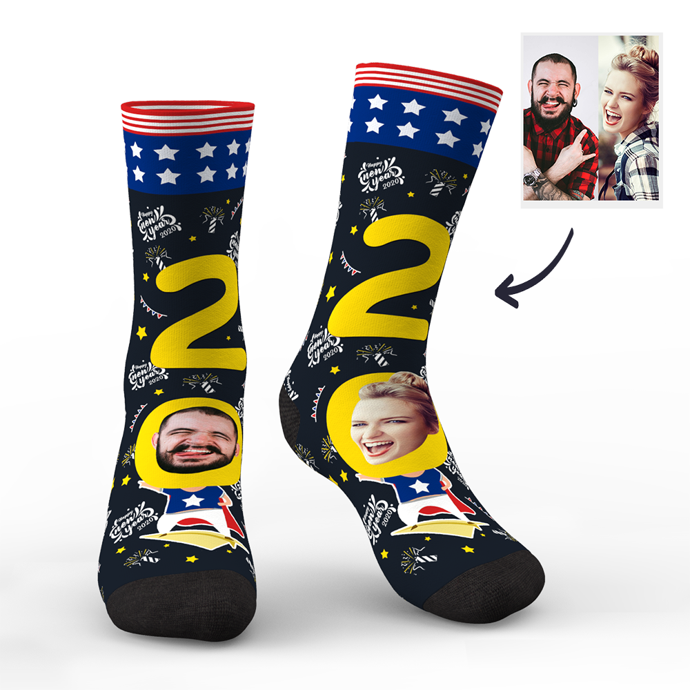 Custom Face Socks for 2020 USA New Year's Gift