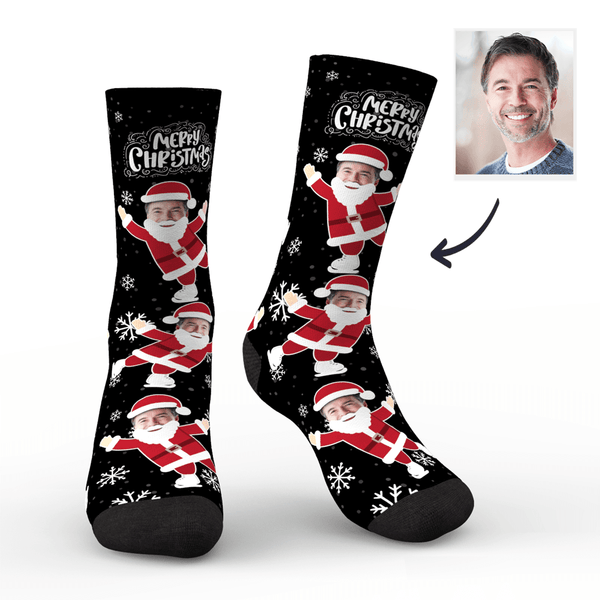Custom Christmas Socks Face on Santa Claus's Body