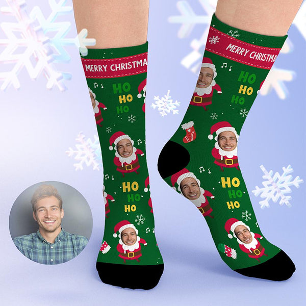 Custom Santa Claus Face Socks Christmas Gifts