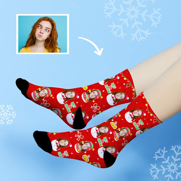 Custom Christmas Snowman Face Socks