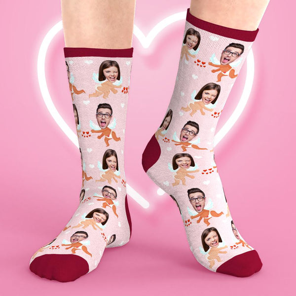 Custom Face Socks Lovers Cupid Crew Socks